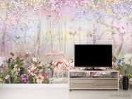 Фотообои Лес и фламинго - 2