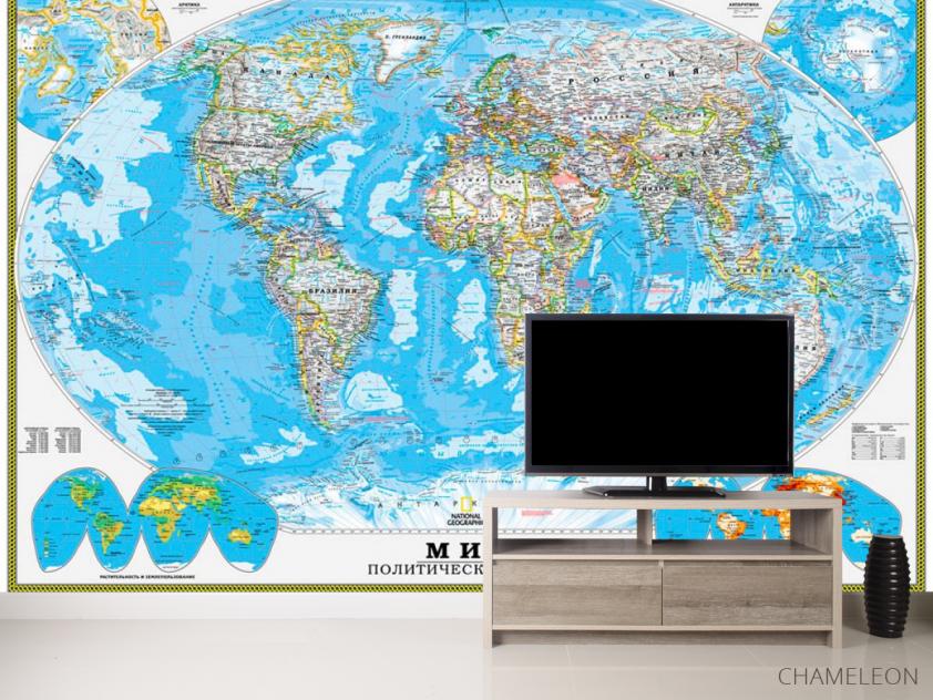 Фотообои Голубая карта мира - 2