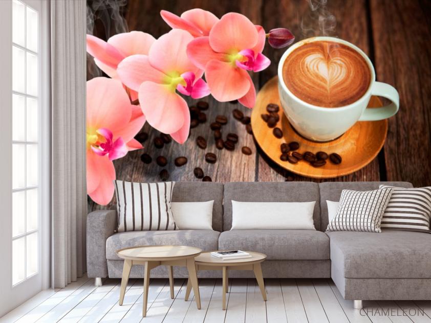 Фотообои в кухню Кофе, цветы - 3