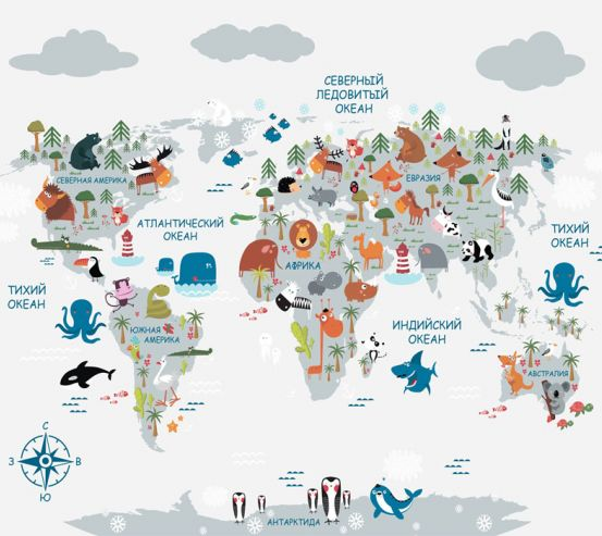 Фотообои Карта в детскую  24137