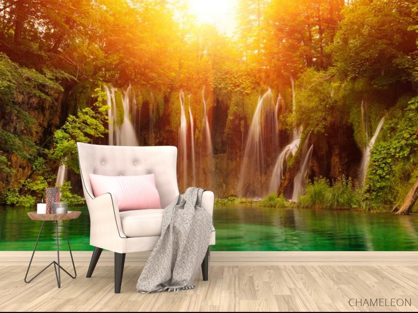 Фотообои солнце над водопадом - 4
