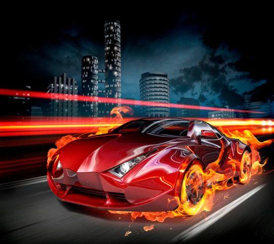 Фотообои Огненный автомобиль 8740
