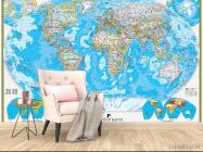 Фотообои Голубая карта мира - 4