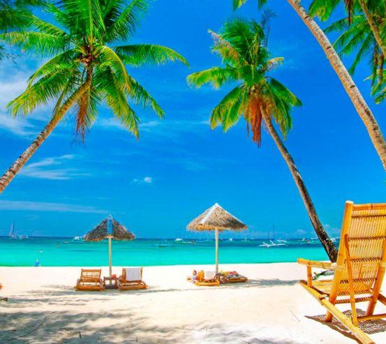 Фотообои Шезлонг, пальмы, пляж 0531