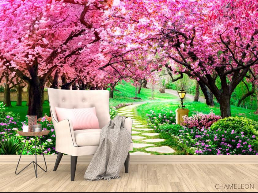 Фотообои Тоннель из розовых деревьев - 4