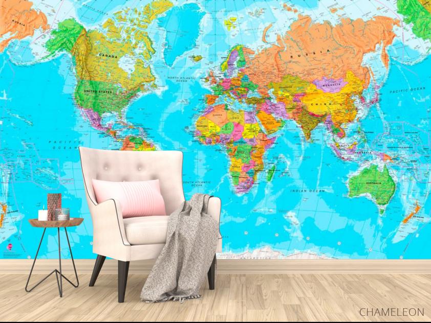 Фотообои Карта мира на английском - 4