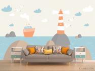 Фотообои Кораблик и маяк - 1