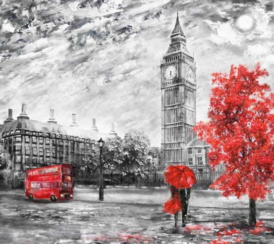 Фотообои Лондон красно-серая картина 21183