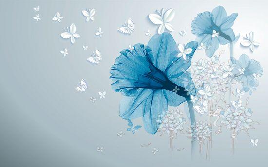 Фотообои Синий абстрактный цветок
