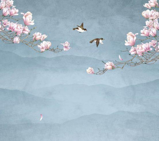 Фотошпалери птиці і Магнолія 28763