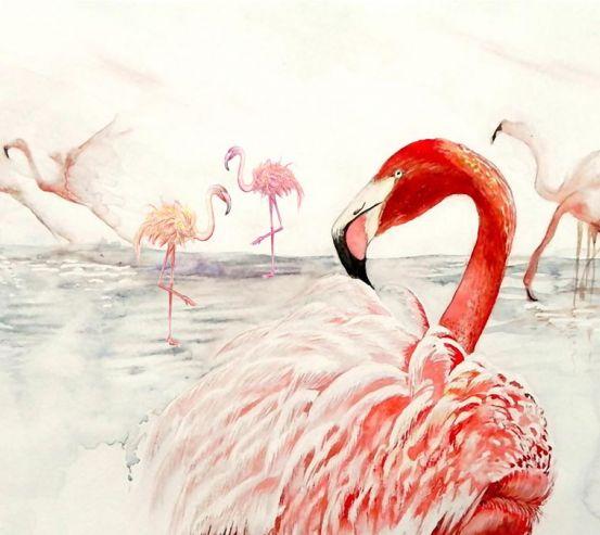 Фотообои Стая розовых фламинго 22283
