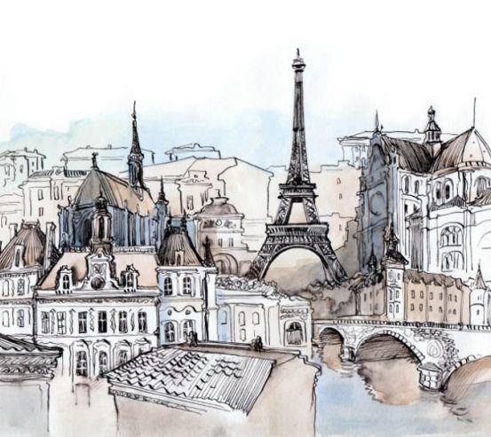 Фотообои Рисованный Париж 17262