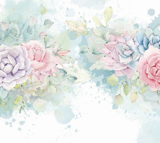 Фотообои Акварельные каменные цветы 27610