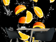 Фотообои апельсинкаи на чёрном фоне - 1