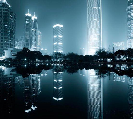 Фотообои Дома, вода, туман 5408