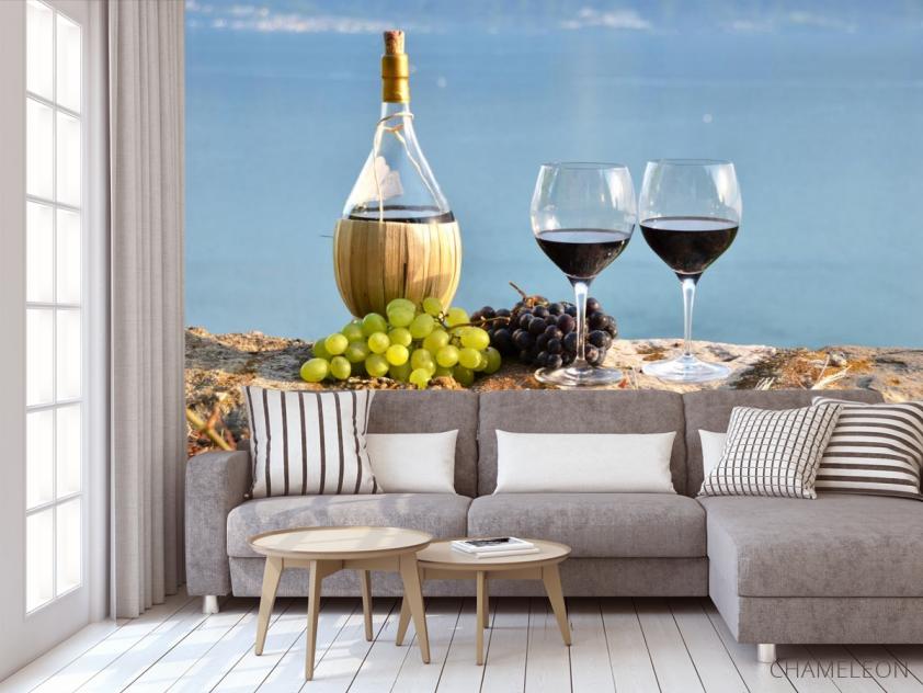 Фотообои красное вино на берегу - 3