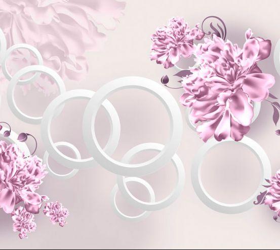 Фотообои Фиолетовые пионы и круги 20107