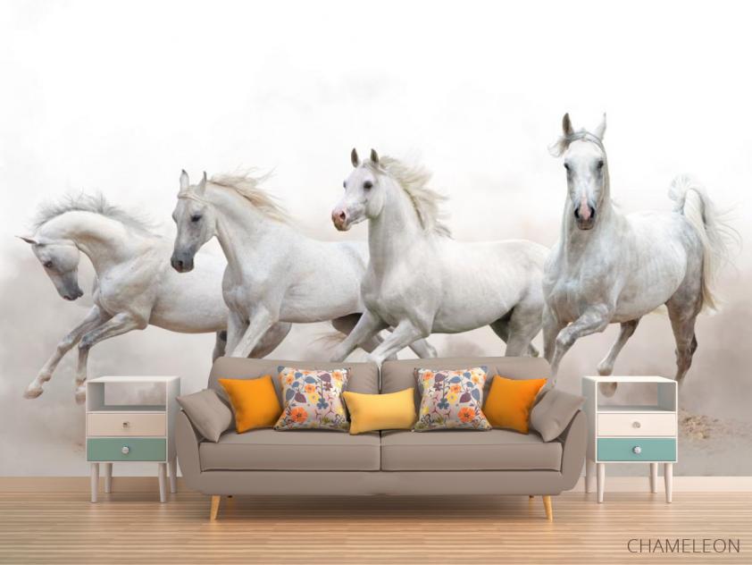 Фотообои четыре белые лошади - 1