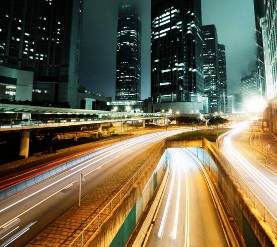 Фотообои Светлая дорога ночью  9973