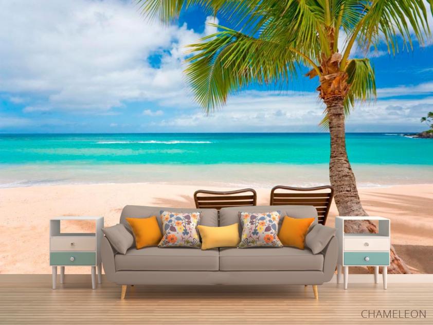 Фотообои Два лежака и пальмы - 1