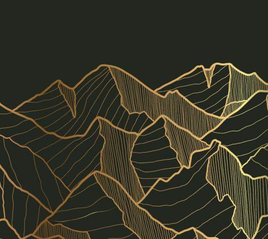 Фотошпалери золоті гори на чорному 26180