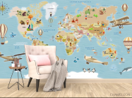 Фотообои Детская карта на русском - 4