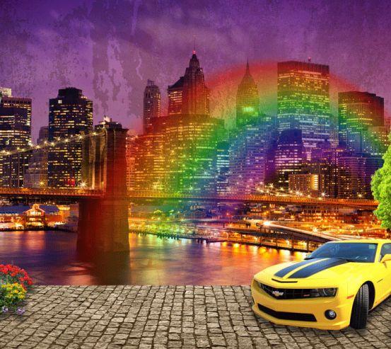 Фотообои Машина на фоне города 24104