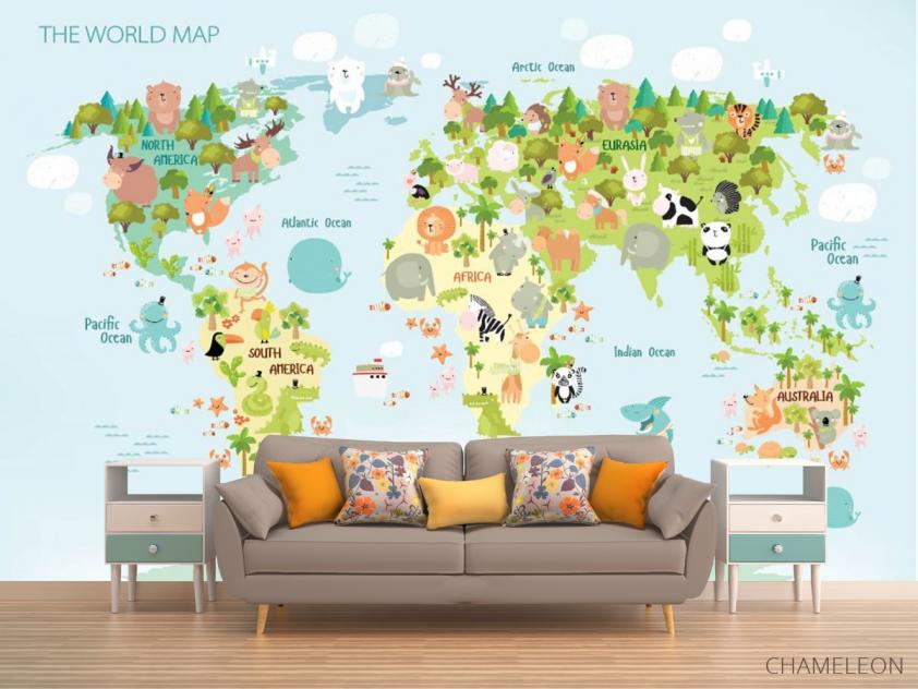 Фотообои Детская развивающая карта - 1