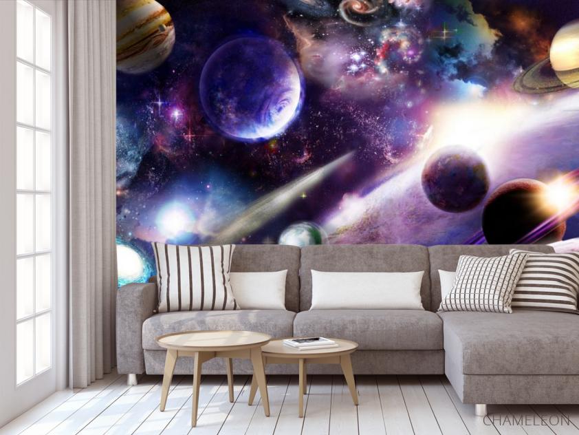 Фотообои яркий космос с планетами - 3