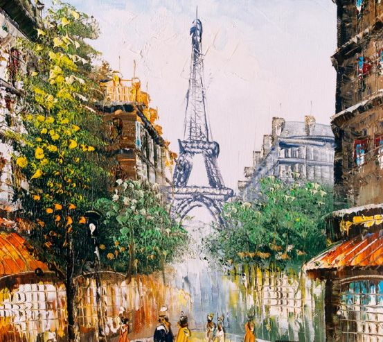 Фотообои Париж маслом на холсте 21135