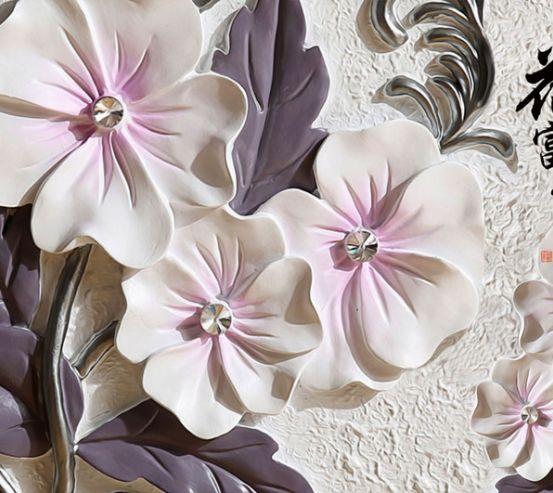 Фотошпалери Барельєфні керамічні квіти 22915