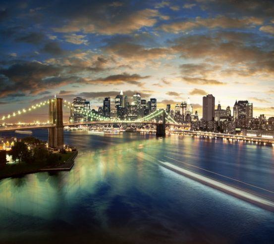Фотообои Ночь, мост, New York 1907