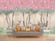 Фотообои Олени в розовом лесу - 1