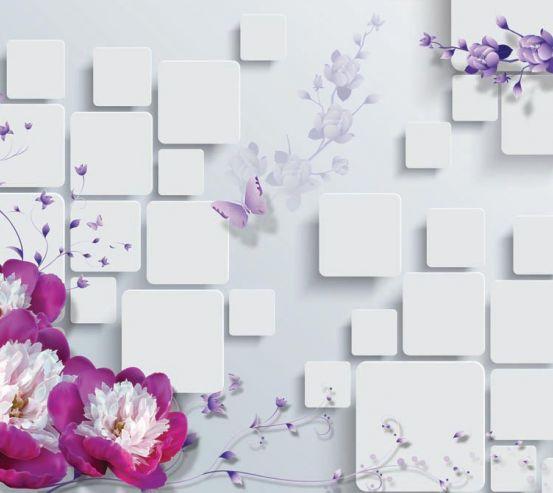 Фотообои Цветы, стена, квадраты 15735