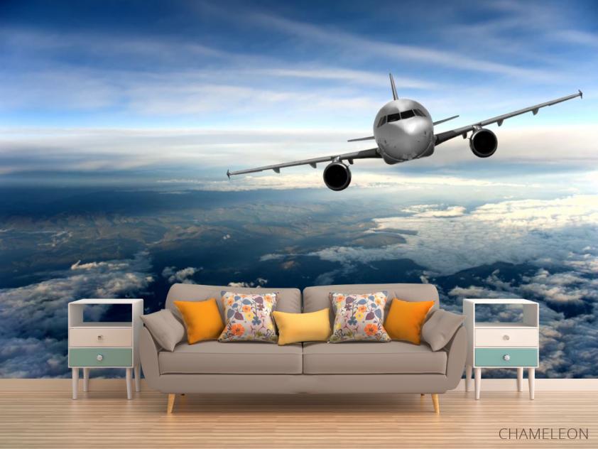 Фотообои самолёт над облаками - 1