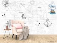 Фотообои Детская карта с кораблями - 4