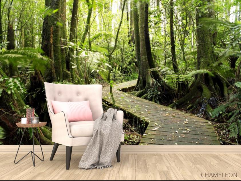 Фотообои деревянная дорожка в лесу - 4