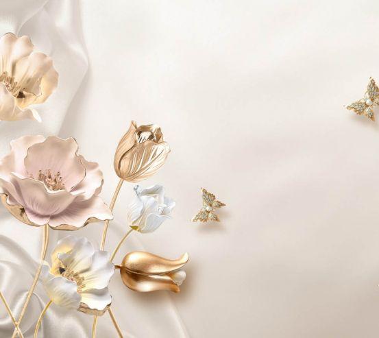 Фотообои Золотые 3д цветы 25030