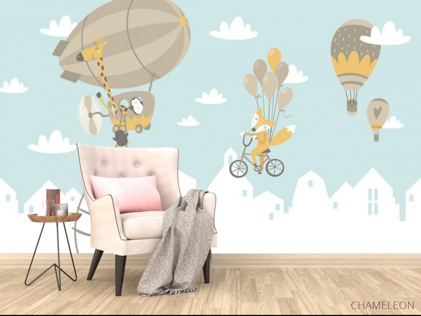 Фотообои Зверюшки на воздушных шарах - 4