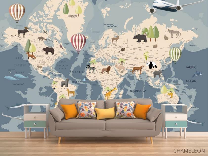 Фотообои Карта с животными - 1
