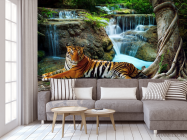 Фотообои тигр у водопада - 3