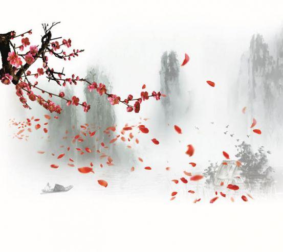 Фотообои Красная ветка сакуры 28942