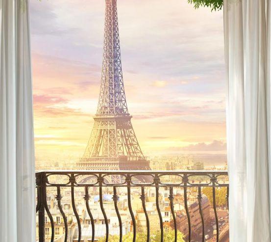 Фотообои вид на Эйфелеву башню с балкона 21279