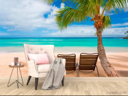 Фотообои Два лежака и пальмы - 4