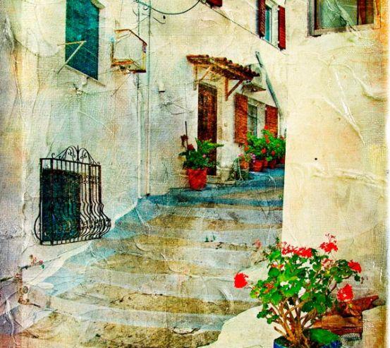 Фотообои Ступеньки на улице в греции 0069