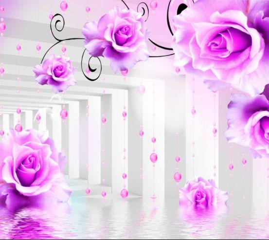 Фотообои Фиолетовые цветы в тоннеле 19983