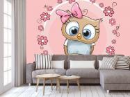 Фотообои Совушка на розовом фоне - 3