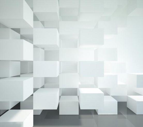 Фотообои Белые объёмные кубы 20488