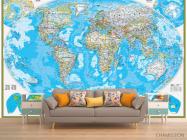 Фотообои Голубая карта мира - 1