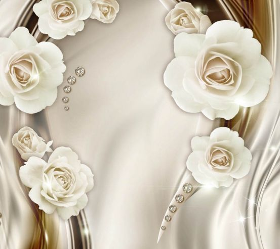 Фотообои Белые 3д цветы с камнями 24966